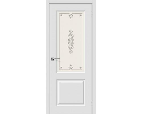 Дверь Скинни-13 П-23 Белый Худ. Браво, Bravo +петли
