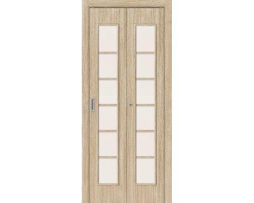 Дверь складная 2С Л-21 БелДуб Сатинато Браво, Bravo