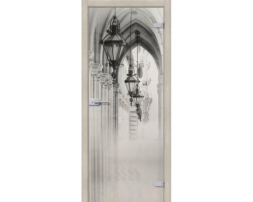 Дверь стеклянная Аркада Люкс Белое Сатинато Браво, Bravo