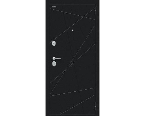 Дверь входная Bravo R Граффити-5 Букле черное/Snow Art